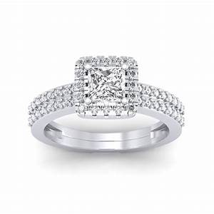 086 carat platinum dual band helena princess engagement With dual band wedding rings
