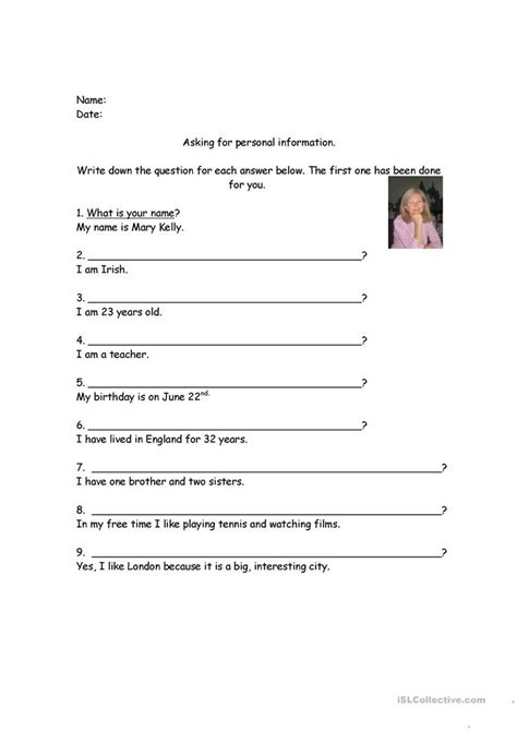 personal information worksheet free esl printable