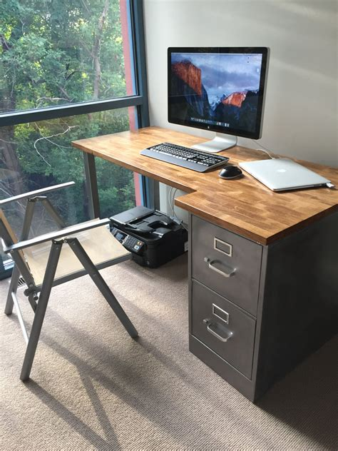 desk with file drawer desk with refinished 2 drawer metal filing cabinet w solid
