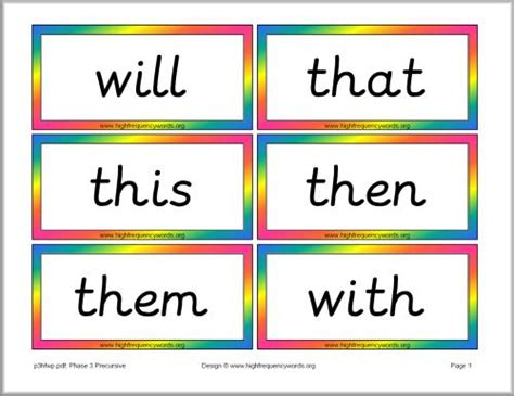 phase 3 high frequency word cards precursive