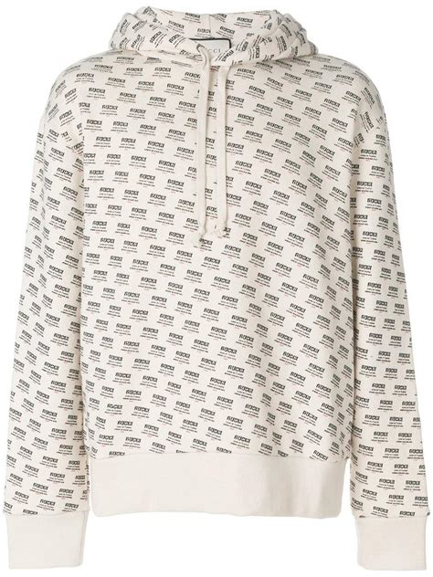 gucci cotton gg monogram sweatshirt  white  men lyst