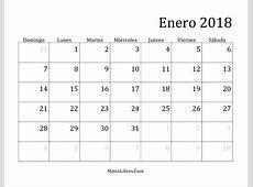 Enero 2018 calendario Download 2019 Calendar Printable