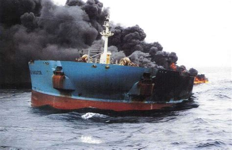 Big Boat Collisions by Iranian Tanker Burns For Third Day After Collision