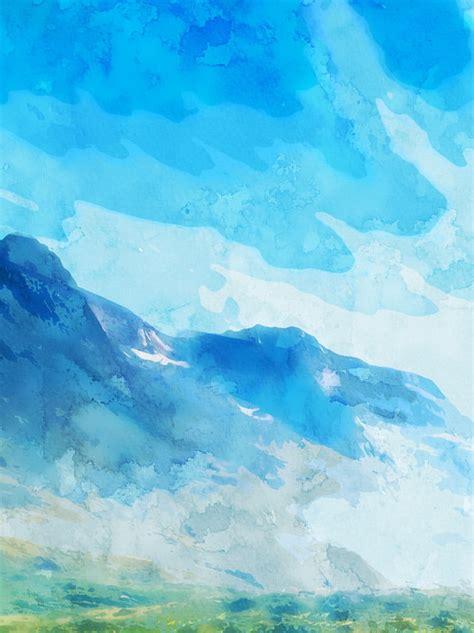 전체 손으로 그린 수채화 푸른 하늘 흰 구름 배경 손으로 그린 수채화 물감 푸른 하늘 무료
