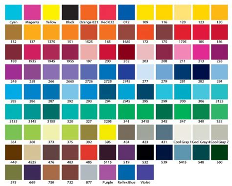 pantone color chart popular your life and pantone color