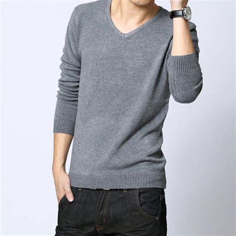 cool sweaters for guys winter sleeved mens solid color pullover cool wool