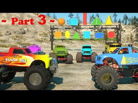 monster truck music videos learn shapes and race monster trucks toys part 3 videos
