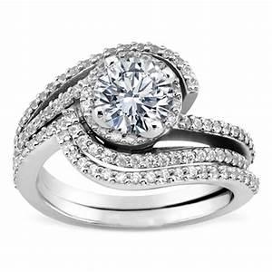 Engagement Ring Double Swirl Diamond Halo Engagement Ring