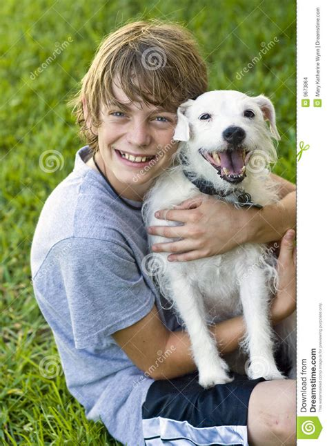 happy boy   dog stock images image