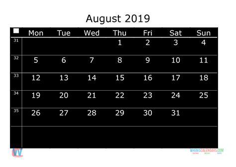 printable monthly calendar  august week day starts