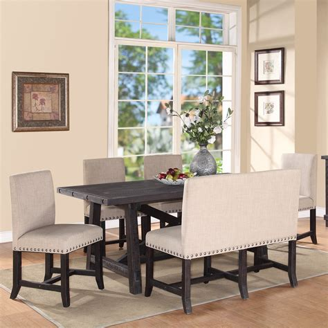 settee bench dining table modus yosemite 6 rectangular dining table set with