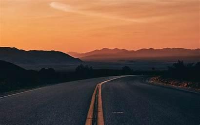 Horizon Road Turn Asphalt Sunset 4k Background