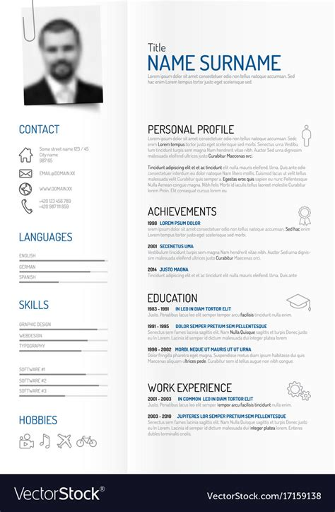 Cv V Resume by Creative Minimalist Cv Resume Template Royalty Free Vector