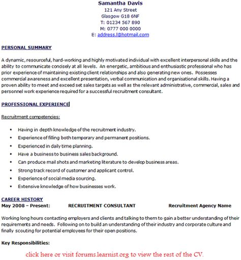 recruitment consultant sle resume great cv opening statements