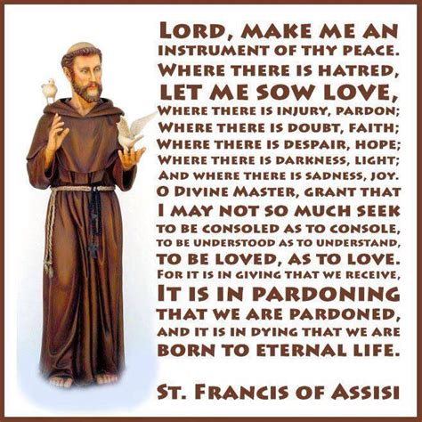 prayer of francis of assisi st francis of assisi prayers and quotes quotesgram