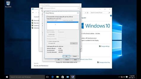 adjust memory on windows 10 to optimize system