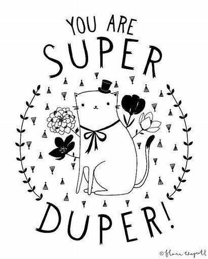 Duper Super Illustration Cats Giclee Flora Waycott