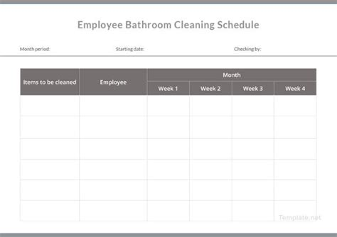bathroom cleaning schedule templates