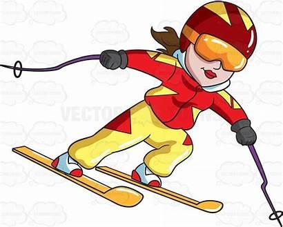 Clipart Skiing Skier Cartoon Happy Trail Female