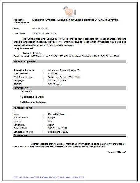 Coding Fresher Resume Format fresher resume sle page 2 career