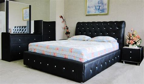 crystal black leather queen size bed diamond look in sydney