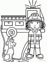 Coloring Firefighter Cartoon Popular Female sketch template