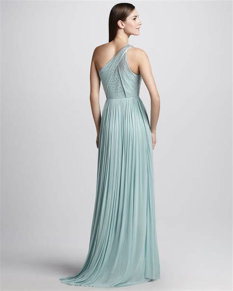 lyst catherine deane beaded oneshoulder tulle gown  blue