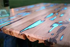 wood tables embedded with photoluminescent resin by mike With glow in the dark coffee table