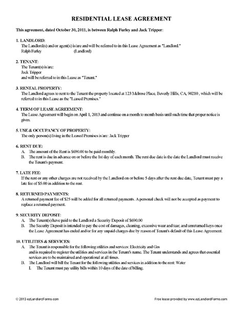 Apartment Lease Rental Agreement by Rental Lease Agreement Rental Agreement Forms Ez