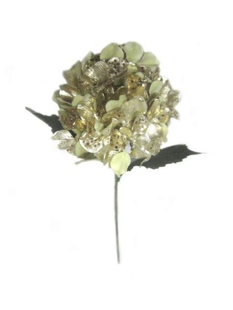 holiday inspirations  metallic hydrangea stem gold