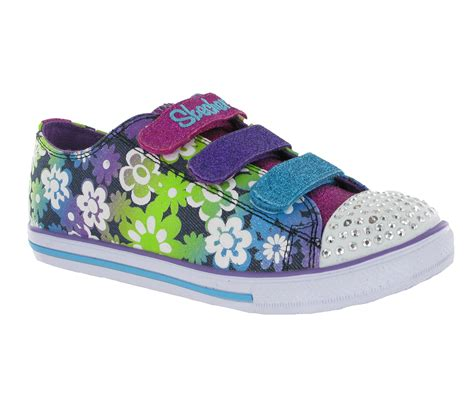 skechers kids light up shoes new girls kids skechers memory foam twinkle toes light up