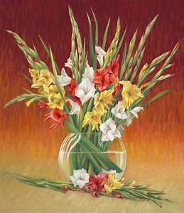 Red White And Yellow Gladiolus Painting by Nancy Tilles