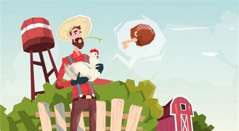 Conjunto de desenhos animados agrícolas com agricultor
