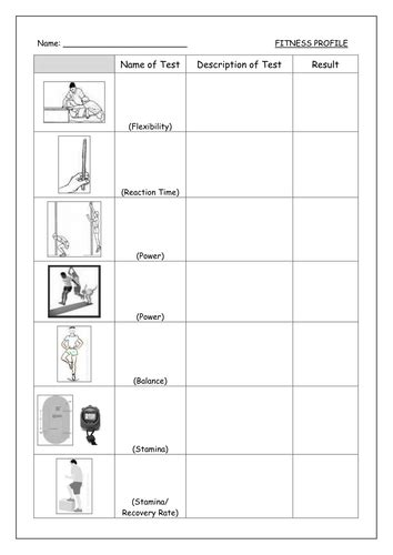 fitness tests resource cards by mrsharpe teaching