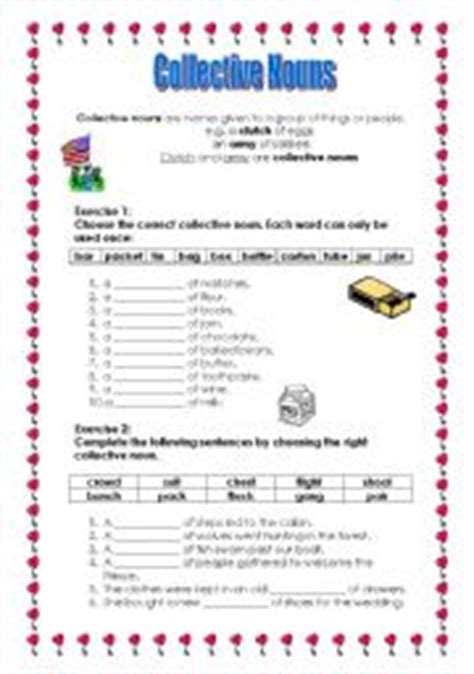 english worksheets collective nouns part 1