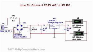 How To Convert 230v Ac  Or 120v Ac To 5v Dc