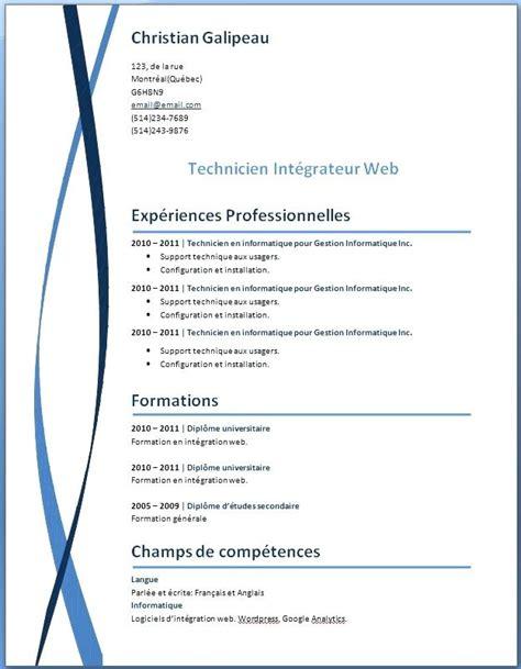 Cv En Francais Word Gratuit by Exemple Gratuit De Cv Exemple De Cv Gratuit Format Word