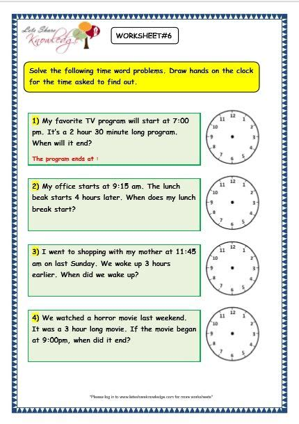 grade 3 maths worksheets on time problems with answer key print them or pin it time worksheet