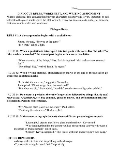 punctuating dialogue worksheets middle school