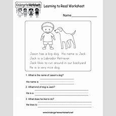 Learning To Read Worksheet  Free Kindergarten English Worksheet For Kids