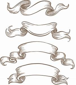 Hand drawn vintage ribbon benner vector 06 – Over millions ...
