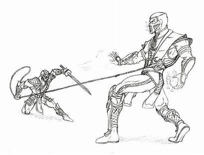 Mortal Kombat Scorpion Coloring Sub Zero Vs