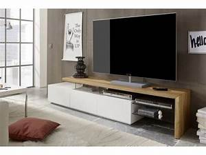 Meuble Tv Bois Design : meuble tv design en bois massif ch ne huil blanc 3 tiroirs alimos 204 cm ~ Preciouscoupons.com Idées de Décoration