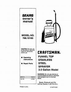 Craftsman 78615160 User Manual Spray 2 0 Gallon Manuals