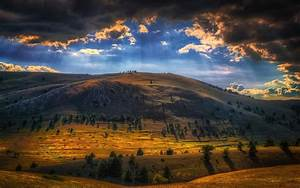 Nature, Landscape, Sun, Rays, Mountain, Clouds, Trees, Italy, Wallpaper