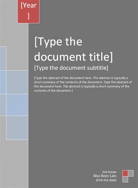 report cover template   word documents