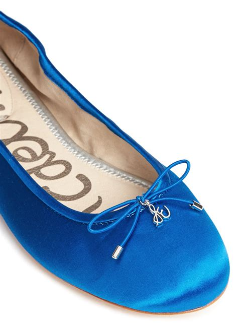 sam edelman felicia satin ballet flats  blue lyst