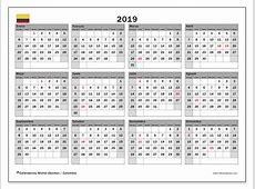 Calendario 2019, Colombia