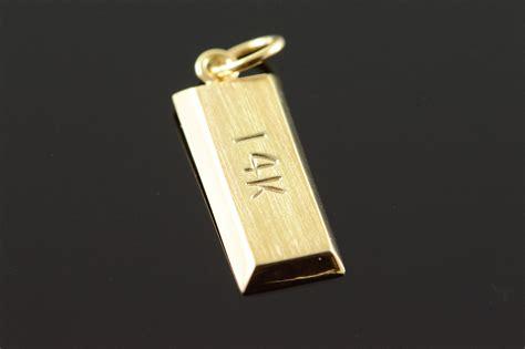14k Gold Bullion Bar Yellow Gold Charm/pendant