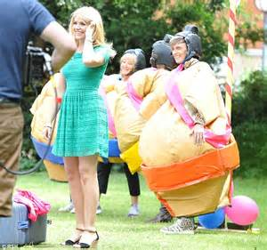 Holly Willoughby wobbles in a giant sumo wrestling suit as ...